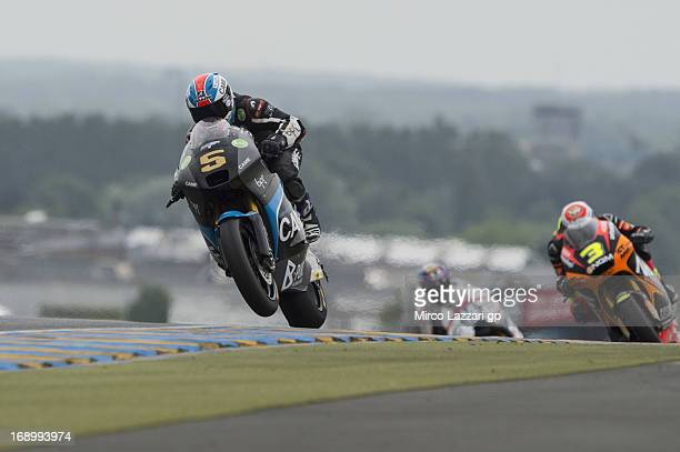 Johann Zarco of France and Came IodaRacing Project heads down a straight during the qualifying practice of the MotoGp Of France Qualifying on May 18...