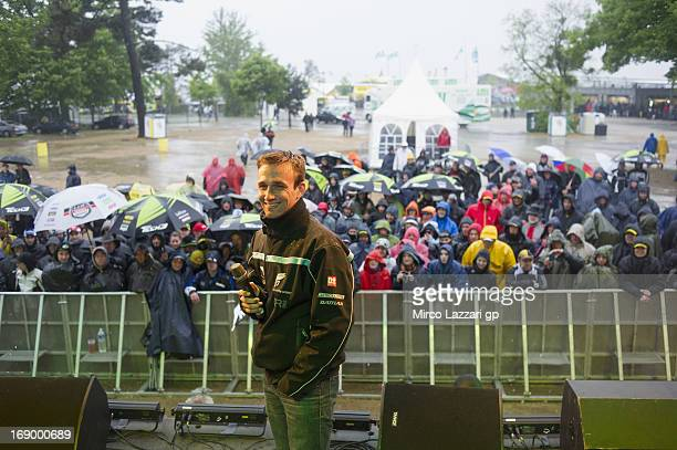 Johann Zarco of France and Came IodaRacing Project poses for fans during the event Riders and Public Interviews during the qualifying practice of the...