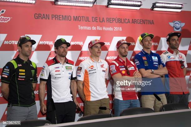 Johann Zarco of France and Monster Yamaha Tech 3 Cal Crutchlow of Great Britain and LCR Honda Marc Marquez of Spain and Repsol Honda Team Andrea...