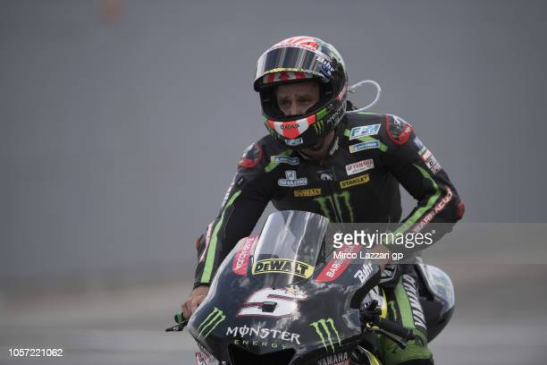 Johann Zarco of France and Monster Yamaha Tech 3 celebrates at the end of the MotoGP race during the MotoGP Of Malaysia Race at Sepang Circuit on...