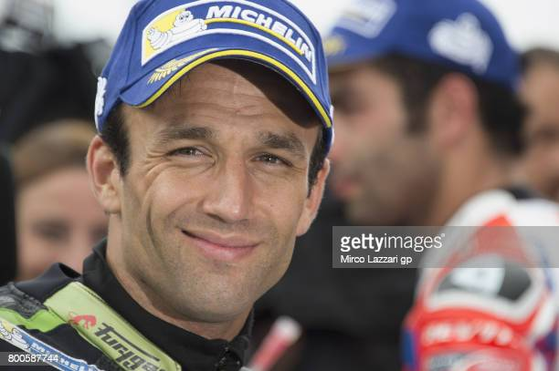 Johann Zarco of France and Monster Yamaha Tech 3 celebrates the pole position at the end of the qualifying practice during the MotoGP Netherlands...