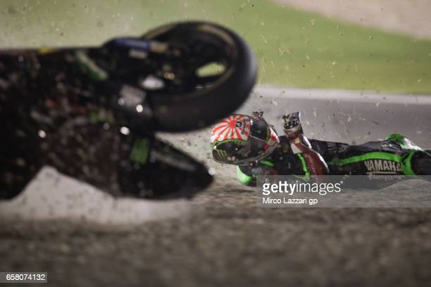 Johann Zarco of France and Monster Yamaha Tech 3 crashed out during the MotoGP race during the MotoGp of Qatar Race at Losail Circuit on March 26...