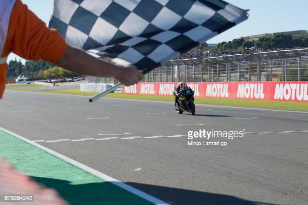 Johann Zarco of France and Monster Yamaha Tech 3 cuts the finish lane and celebrates the second place at the end of the MotoGp race during the...