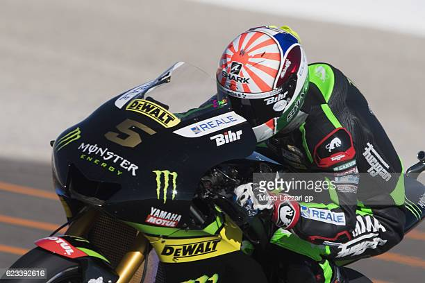 Johann Zarco of France and Monster Yamaha Tech 3 heads down a straight during the MotoGp Tests In Valencia at Ricardo Tormo Circuit on November 15...