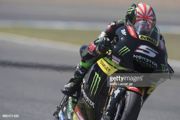 Johann Zarco of France and Monster Yamaha Tech 3 heads down a straight during the MotoGp Tests In Jerez at Circuito de Jerez on May 8 2017 in Jerez...