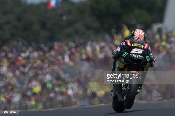 Johann Zarco of France and Monster Yamaha Tech 3 heads down a straight during the MotoGP race during the MotoGp of France Race on May 21 2017 in Le...