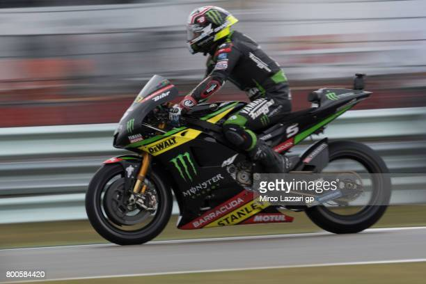 Johann Zarco of France and Monster Yamaha Tech 3 heads down a straight during the MotoGP Netherlands Qualifying on June 24 2017 in Assen Netherlands
