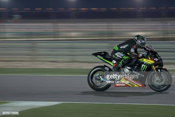 Johann Zarco of France and Monster Yamaha Tech 3 heads down a straight during the MotoGP Testing Qatar at Losail Circuit on March 1 2018 in Doha Qatar