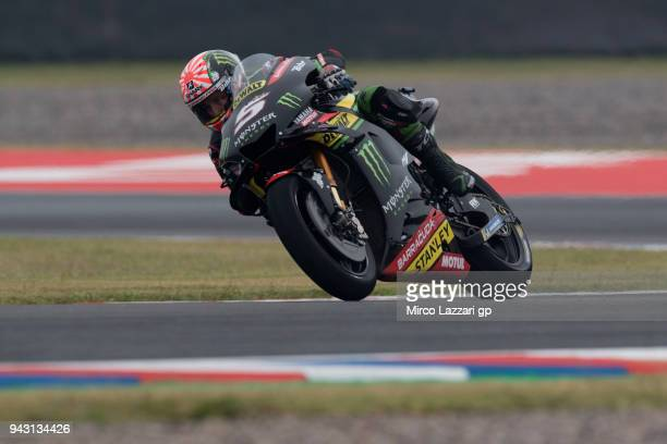 Johann Zarco of France and Monster Yamaha Tech 3 heads down a straight during the qualifying practice during the MotoGp of Argentina Qualifying on...