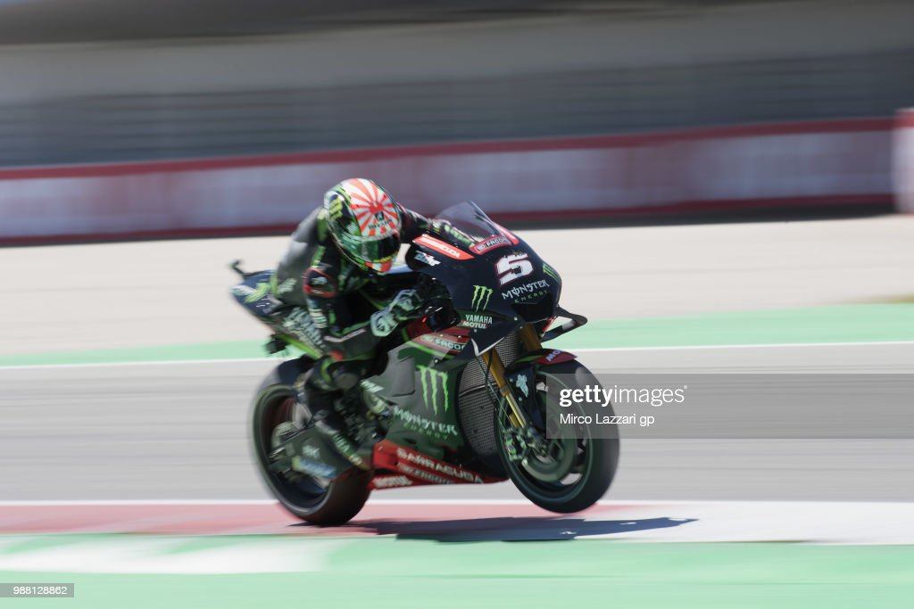 Johann Zarco of France and Monster Yamaha Tech 3 heads down a straight during the Qualifying practice during the MotoGP Netherlands - Qualifying on June 30, 2018 in Assen, Netherlands.