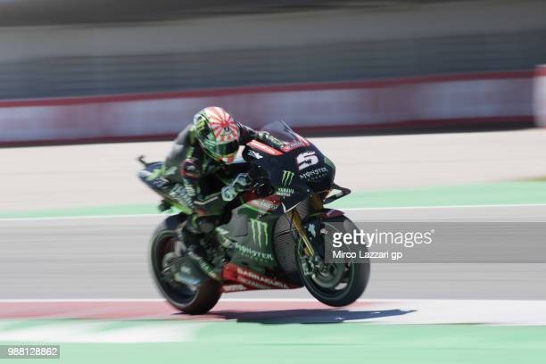 Johann Zarco of France and Monster Yamaha Tech 3 heads down a straight during the Qualifying practice during the MotoGP Netherlands Qualifying on...