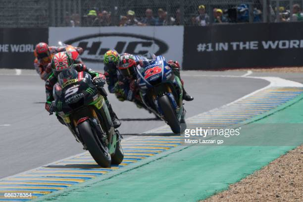 Johann Zarco of France and Monster Yamaha Tech 3 leads the field during the MotoGP race during the MotoGp of France Race on May 21 2017 in Le Mans...