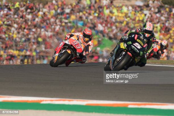 Johann Zarco of France and Monster Yamaha Tech 3 leads the field during the MotoGP race during the Comunitat Valenciana Grand Prix Moto GP at...