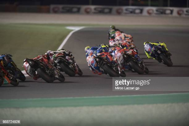 Johann Zarco of France and Monster Yamaha Tech 3 leads the field during the MotoGP race during the MotoGP of Qatar Race at Losail Circuit on March 18...