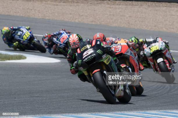 Johann Zarco of France and Monster Yamaha Tech 3 leads the fields during the MotoGP race during the MotoGp of Spain Race at Circuito de Jerez on May...