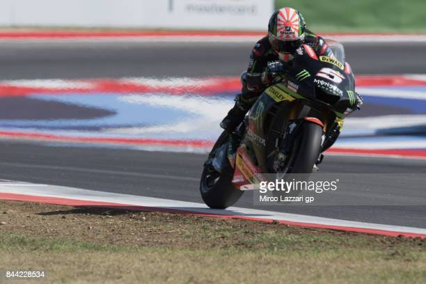 Johann Zarco of France and Monster Yamaha Tech 3 lifts the front wheel during the MotoGP of San Marino Free Practice at Misano World Circuit on...
