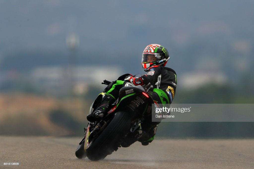 Johann Zarco of France and Monster Yamaha Tech 3 looks back as he rides during practice for the MotoGP of Aragon at Motorland Aragon Circuit on September 22, 2017 in Alcaniz, Spain.