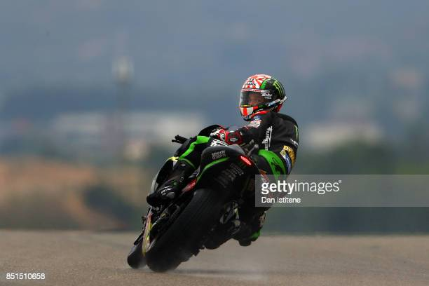 Johann Zarco of France and Monster Yamaha Tech 3 looks back as he rides during practice for the MotoGP of Aragon at Motorland Aragon Circuit on...