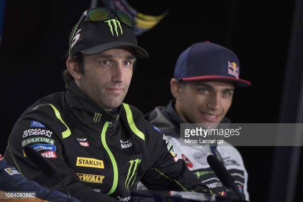 Johann Zarco of France and Monster Yamaha Tech 3 looks on during the press conference at the end of the MotoGP qualifying during qualifying for the...