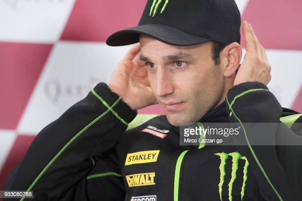 Johann Zarco of France and Monster Yamaha Tech 3 looks on during the press conference during the MotoGP of Qatar Qualifying at Losail Circuit on...
