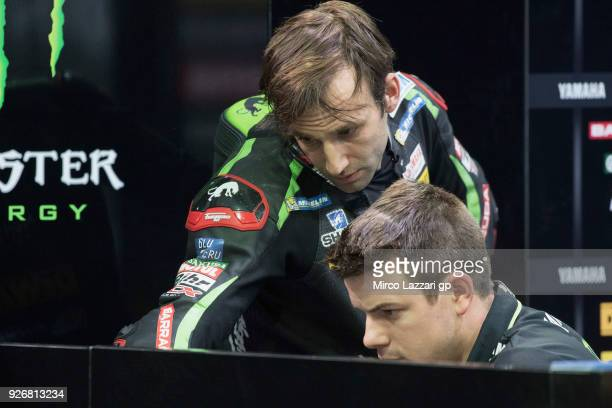 Johann Zarco of France and Monster Yamaha Tech 3 looks on in box during the Moto GP Testing Qatar at Losail Circuit on March 3 2018 in Doha Qatar