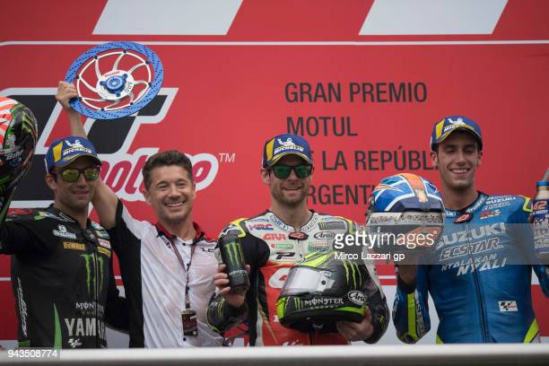 Johann Zarco of France and Monster Yamaha Tech 3 Lucio Cecchinello of Italy and LCR Honda MotoGP Cal Crutchlow of Great Britain and LCR Honda and...