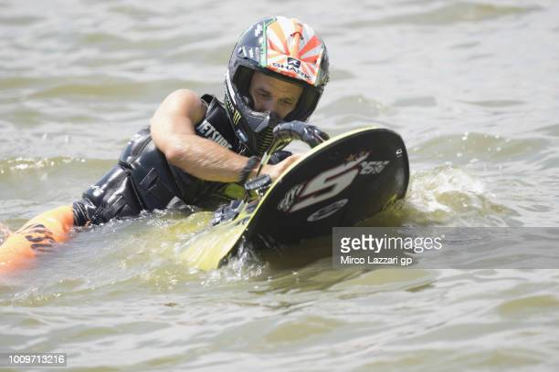Johann Zarco of France and Monster Yamaha Tech 3 makes JetSurf during the preevent at Auspersky Lake during the MotoGp of Czech Republic Previews at...