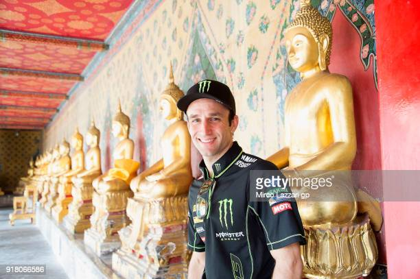 Johann Zarco of France and Monster Yamaha Tech 3 poses during the preevent in the Temple of Dawn in order to celebrate the arrival of MotoGP to...
