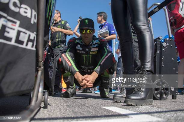Johann Zarco of France and Monster Yamaha Tech 3 prepares to start on the grid during the MotoGP race during the MotoGP of San Marino Race at Misano...