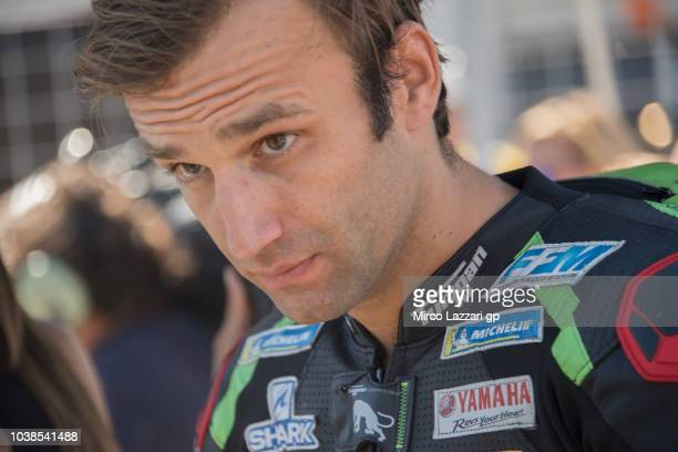Johann Zarco of France and Monster Yamaha Tech 3 prepares to start on the grid during the MotoGP race during the MotoGP of Aragon Race at Motorland...