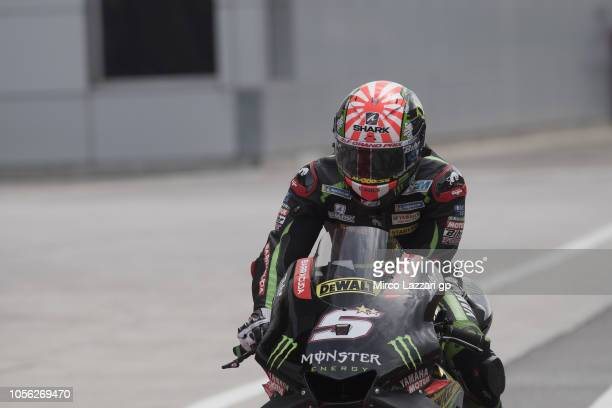Johann Zarco of France and Monster Yamaha Tech 3 returns in box during the MotoGP Of Malaysia Free Practice at Sepang Circuit on November 2 2018 in...