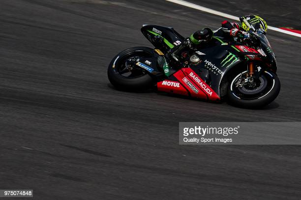Johann Zarco of France and Monster Yamaha Tech 3 rides during free practice for the MotoGP of Catalunya at Circuit de Catalunya on June 15 2018 in...