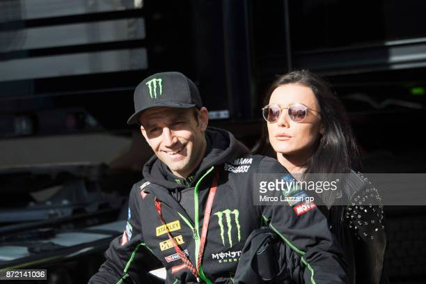 Johann Zarco of France and Monster Yamaha Tech 3 rides the scooter in paddock during the Comunitat Valenciana Grand Prix Moto GP Previews at...