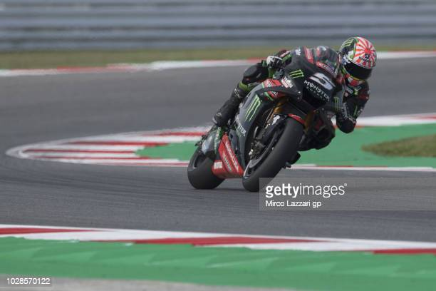 Johann Zarco of France and Monster Yamaha Tech 3 rounds the bend during the MotoGP of San Marino Free Practice at Misano World Circuit on September 7...