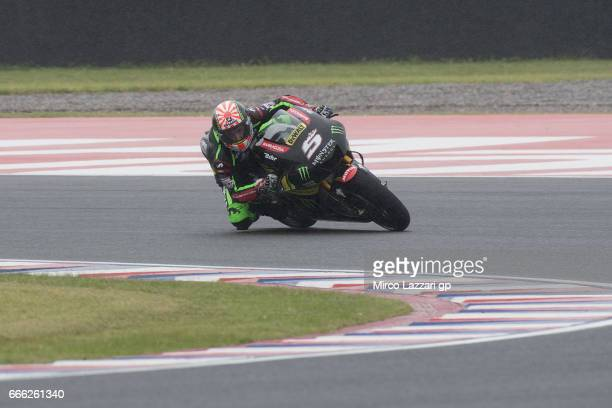 Johann Zarco of France and Monster Yamaha Tech 3 rounds the bend during the MotoGp of Argentina Qualifying on April 8 2017 in Rio Hondo Argentina