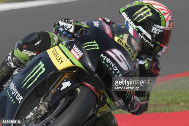 Johann Zarco of France and Monster Yamaha Tech 3 rounds the bend during the MotoGp Of Great Britain Free Practice at Silverstone Circuit on August 25...