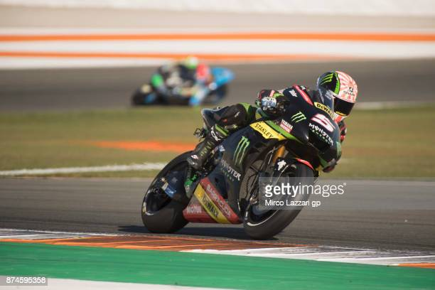 Johann Zarco of France and Monster Yamaha Tech 3 rounds the bend during the MotoGP Tests In Valencia day 2 at Comunitat Valenciana Ricardo Tormo...
