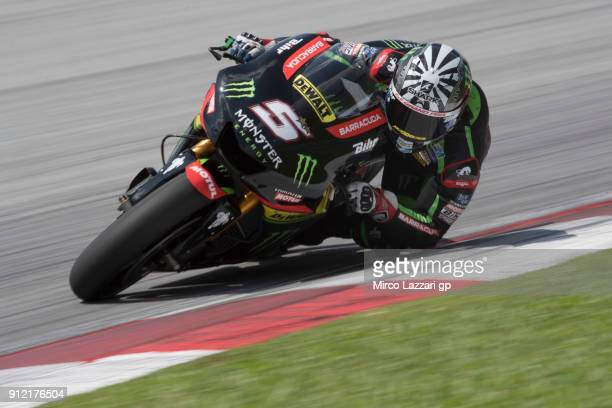 Johann Zarco of France and Monster Yamaha Tech 3 rounds the bend during the MotoGP test in Sepang at Sepang Circuit on January 30 2018 in Kuala...