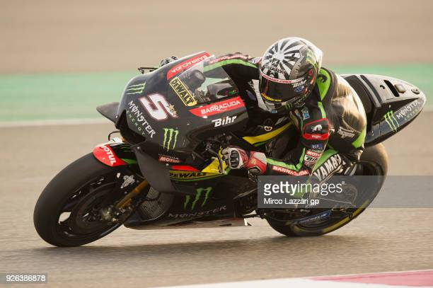Johann Zarco of France and Monster Yamaha Tech 3 rounds the bend during the Moto GP Testing Qatar at Losail Circuit on March 2 2018 in Doha Qatar