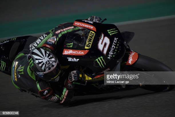 Johann Zarco of France and Monster Yamaha Tech 3 rounds the bend during the Moto GP Testing Qatar at Losail Circuit on March 3 2018 in Doha Qatar