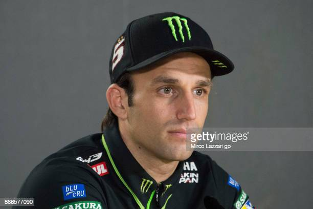 Johann Zarco of France and Monster Yamaha Tech 3 speaks during a press conference ahead of the MotoGP of Malaysia at Sepang Circuit on October 26...