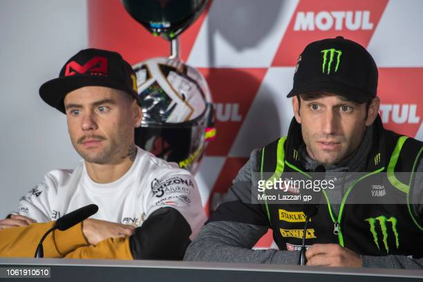 Johann Zarco of France and Monster Yamaha Tech 3 speaks during the press conference preevent during the MotoGP Of Valencia Previews at Ricardo Tormo...
