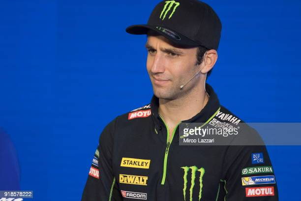 Johann Zarco of France and Monster Yamaha Tech 3 speaks during the 'Yamaha MotoGP Team Media Presentation for 2018 Season' at Chang International...