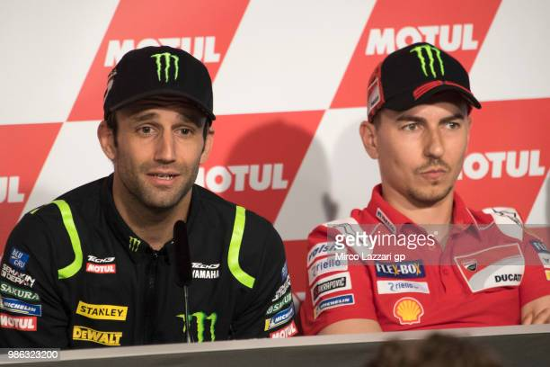 Johann Zarco of France and Monster Yamaha Tech 3 speaks during the press conference preevent during the MotoGP Netherlands Previews on June 28 2018...
