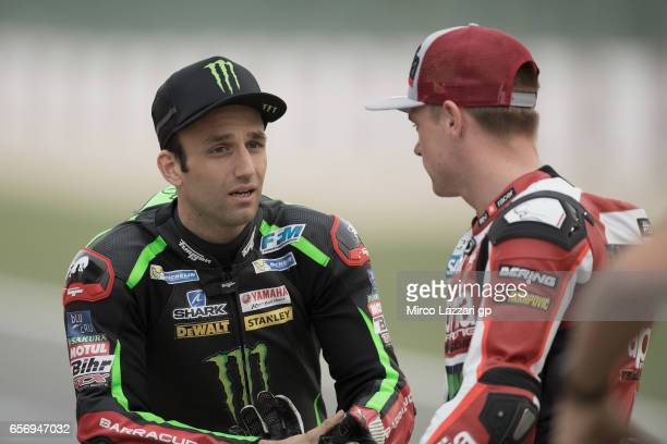 Johann Zarco of France and Monster Yamaha Tech 3 speaks on track before the official photo during the MotoGp of Qatar Free Practice at Losail Circuit...