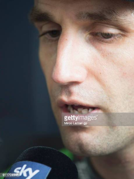 Johann Zarco of France and Monster Yamaha Tech 3 speaks with journalists during the MotoGP Tests In Sepang at Sepang Circuit on January 29 2018 in...