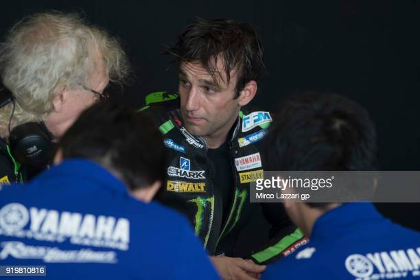 Johann Zarco of France and Monster Yamaha Tech 3 speaks with mechanics during the MotoGP Tests In Thailand on February 18 2018 in Buri Ram Thailand