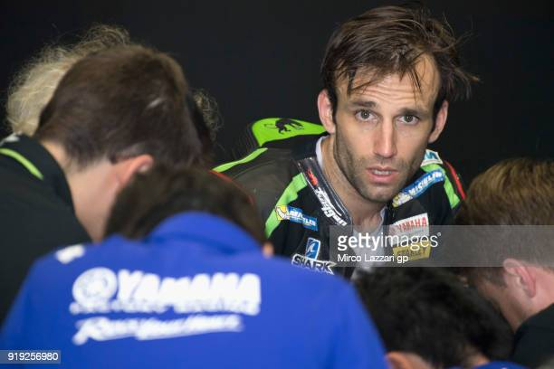 Johann Zarco of France and Monster Yamaha Tech 3 speaks with mechanics in box during the MotoGP Tests In Thailand on February 17 2018 in Buri Ram...