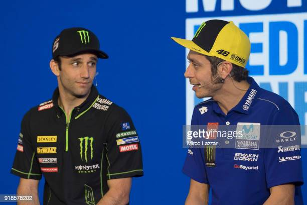 Johann Zarco of France and Monster Yamaha Tech 3 speaks with Valentino Rossi of Italy and Movistar Yamaha MotoGP during the 'Yamaha MotoGP Team Media...