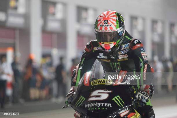 Johann Zarco of France and Monster Yamaha Tech 3 starts from box during the MotoGP of Qatar Qualifying at Losail Circuit on March 17 2018 in Doha...